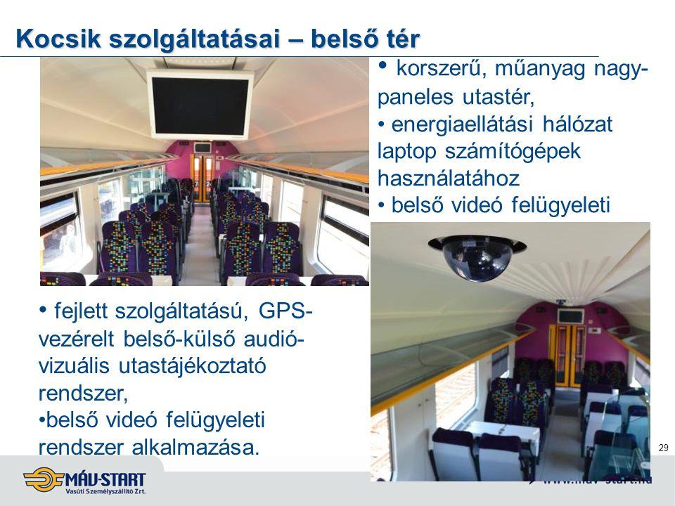 29 Kocsik szolgáltatásai – belső tér korszerű, műanyag nagy- paneles utastér, energiaellátási hálózat laptop számítógépek használatához belső videó fe