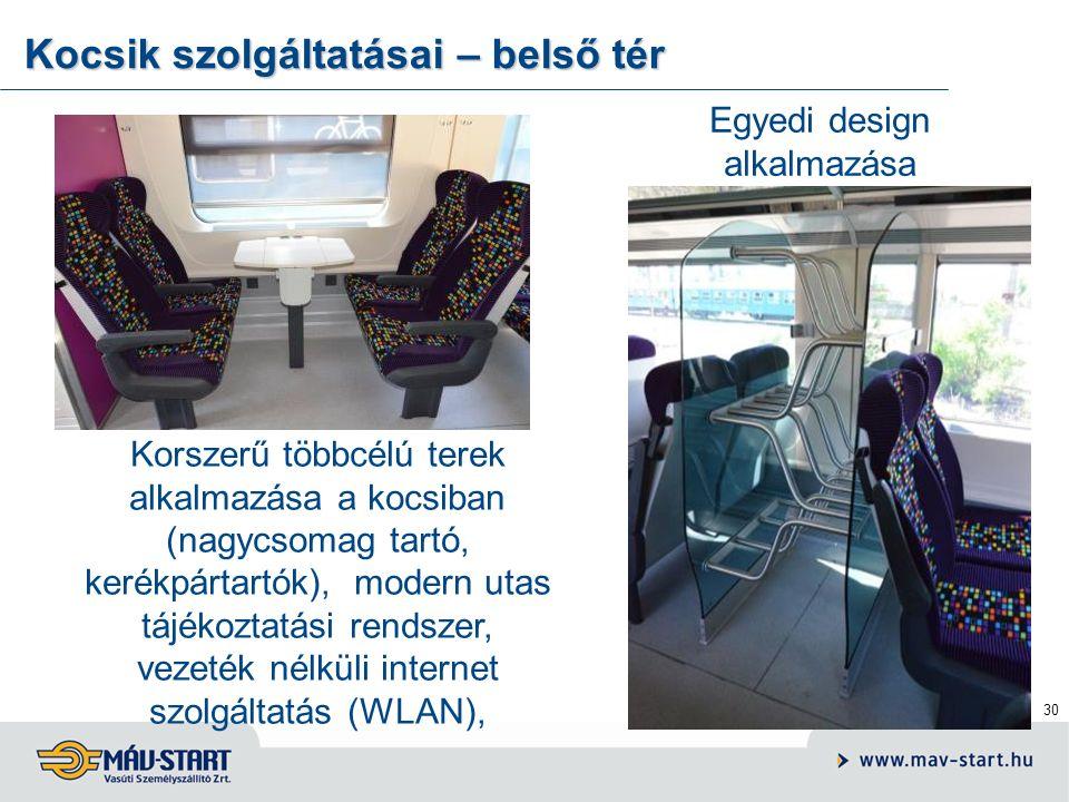 31 Zártrendszerű WC, lekerekített formavilág, egyedi színösszeállítás Kocsik szolgáltatásai – belső tér