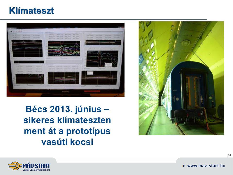 33 Klímateszt Bécs 2013. június – sikeres klímateszten ment át a prototípus vasúti kocsi