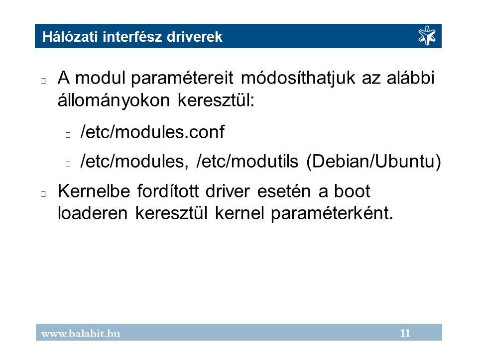 11 www.balabit.hu Hálózati interfész driverek A modul paramétereit módosíthatjuk az alábbi állományokon keresztül: /etc/modules.conf /etc/modules, /etc/modutils (Debian/Ubuntu) Kernelbe fordított driver esetén a boot loaderen keresztül kernel paraméterként.