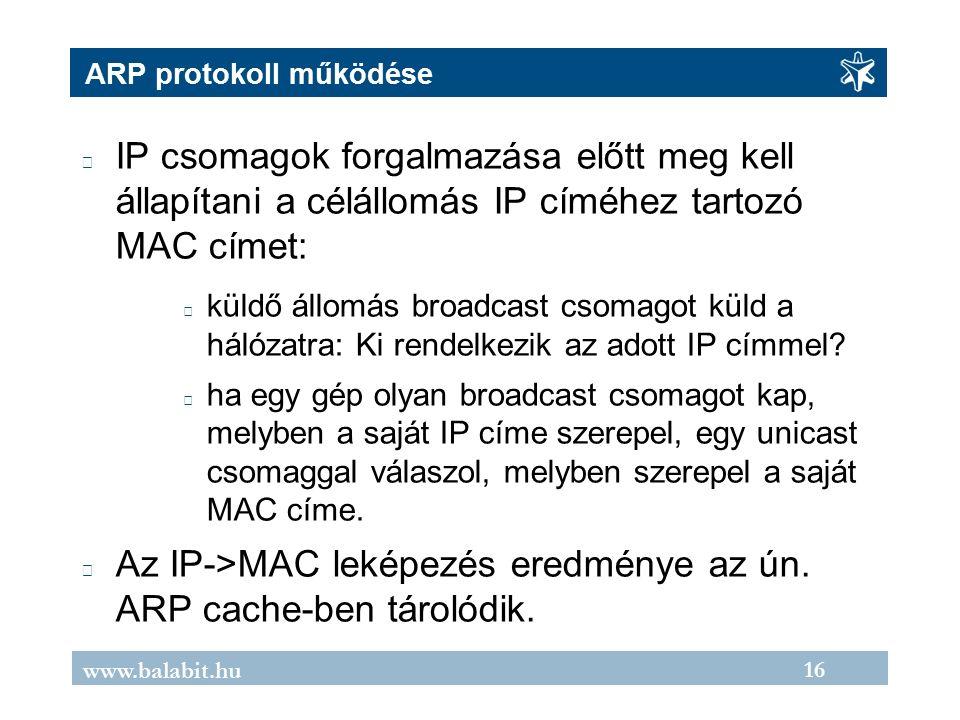 16 www.balabit.hu ARP protokoll működése IP csomagok forgalmazása előtt meg kell állapítani a célállomás IP címéhez tartozó MAC címet: küldő állomás broadcast csomagot küld a hálózatra: Ki rendelkezik az adott IP címmel.