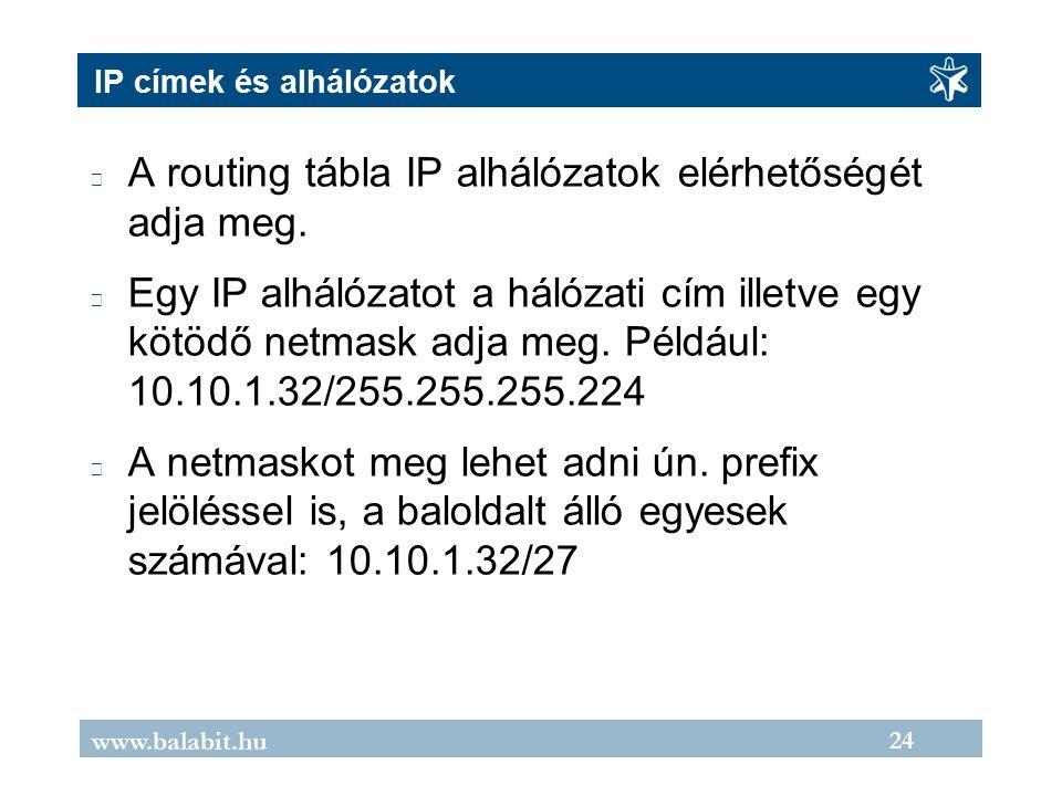 24 www.balabit.hu IP címek és alhálózatok A routing tábla IP alhálózatok elérhetőségét adja meg.