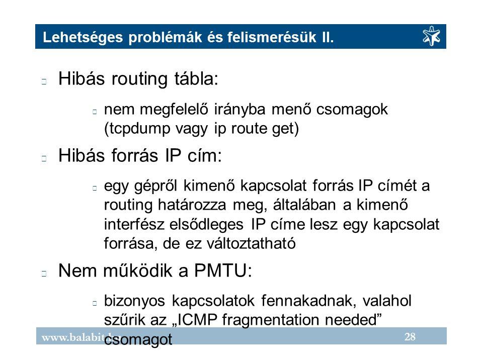 28 www.balabit.hu Lehetséges problémák és felismerésük II.
