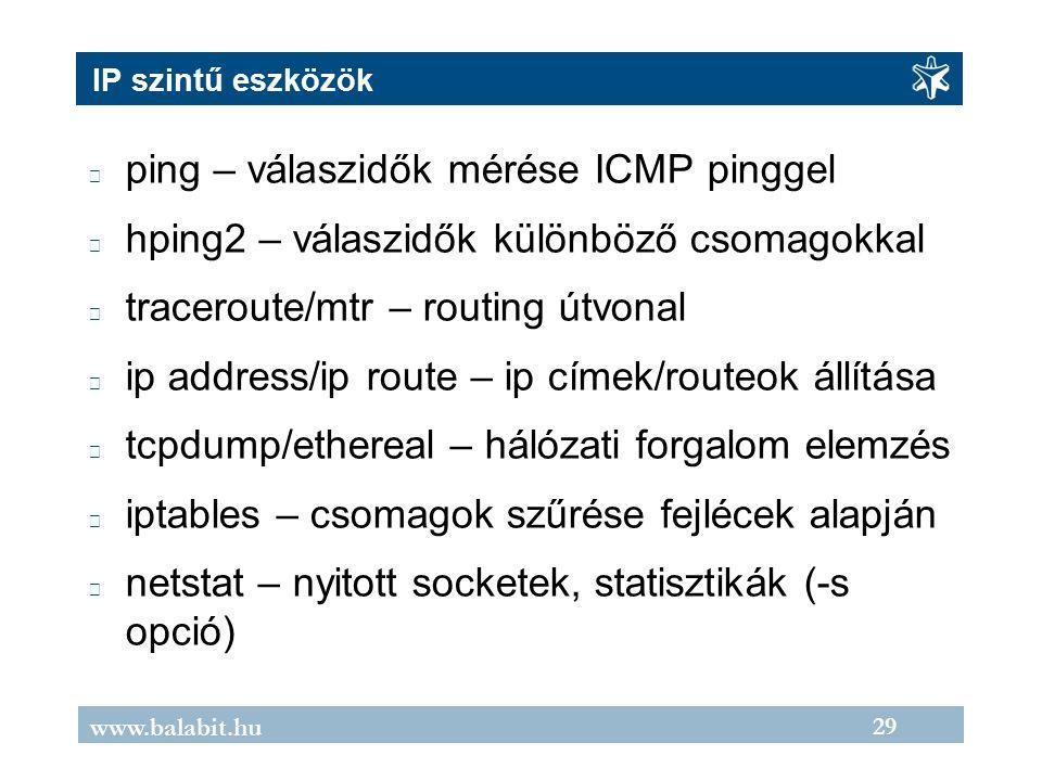 29 www.balabit.hu IP szintű eszközök ping – válaszidők mérése ICMP pinggel hping2 – válaszidők különböző csomagokkal traceroute/mtr – routing útvonal ip address/ip route – ip címek/routeok állítása tcpdump/ethereal – hálózati forgalom elemzés iptables – csomagok szűrése fejlécek alapján netstat – nyitott socketek, statisztikák (-s opció)