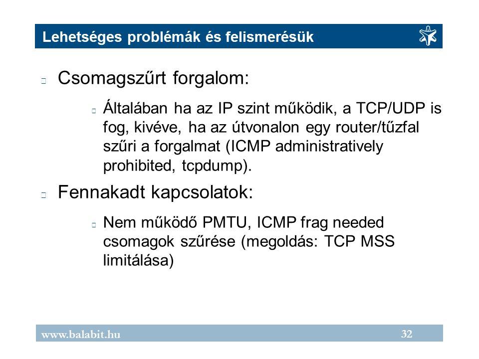 32 www.balabit.hu Lehetséges problémák és felismerésük Csomagszűrt forgalom: Általában ha az IP szint működik, a TCP/UDP is fog, kivéve, ha az útvonalon egy router/tűzfal szűri a forgalmat (ICMP administratively prohibited, tcpdump).