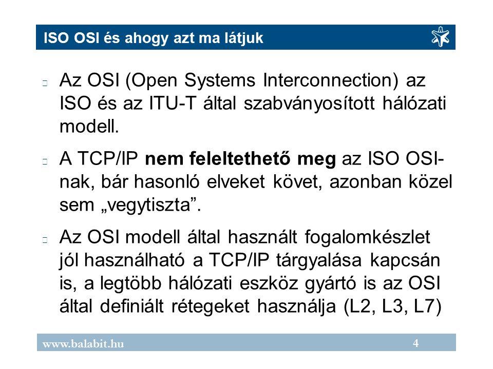 4 www.balabit.hu ISO OSI és ahogy azt ma látjuk Az OSI (Open Systems Interconnection) az ISO és az ITU-T által szabványosított hálózati modell.