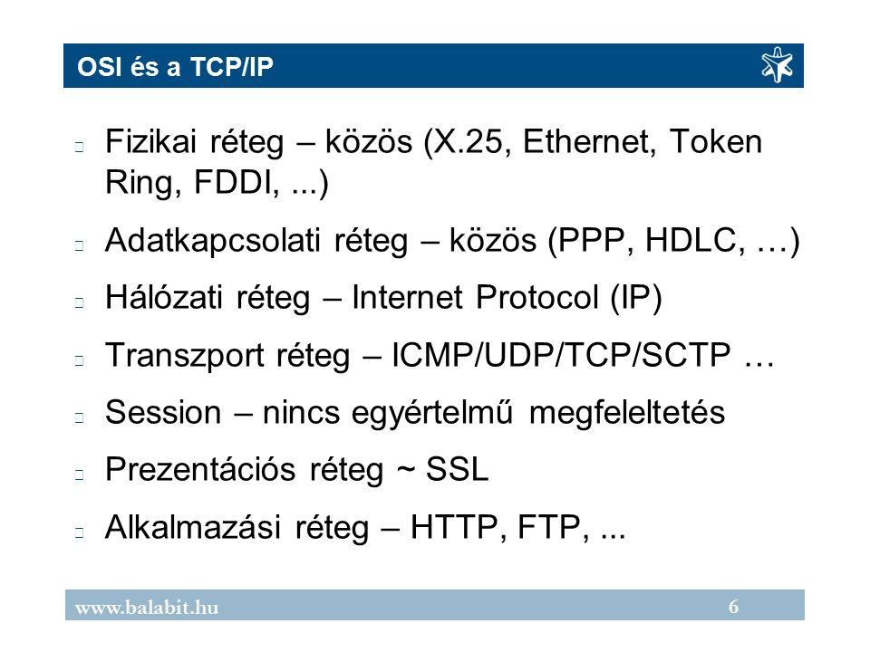 6 www.balabit.hu OSI és a TCP/IP Fizikai réteg – közös (X.25, Ethernet, Token Ring, FDDI,...) Adatkapcsolati réteg – közös (PPP, HDLC, …) Hálózati réteg – Internet Protocol (IP) Transzport réteg – ICMP/UDP/TCP/SCTP … Session – nincs egyértelmű megfeleltetés Prezentációs réteg ~ SSL Alkalmazási réteg – HTTP, FTP,...
