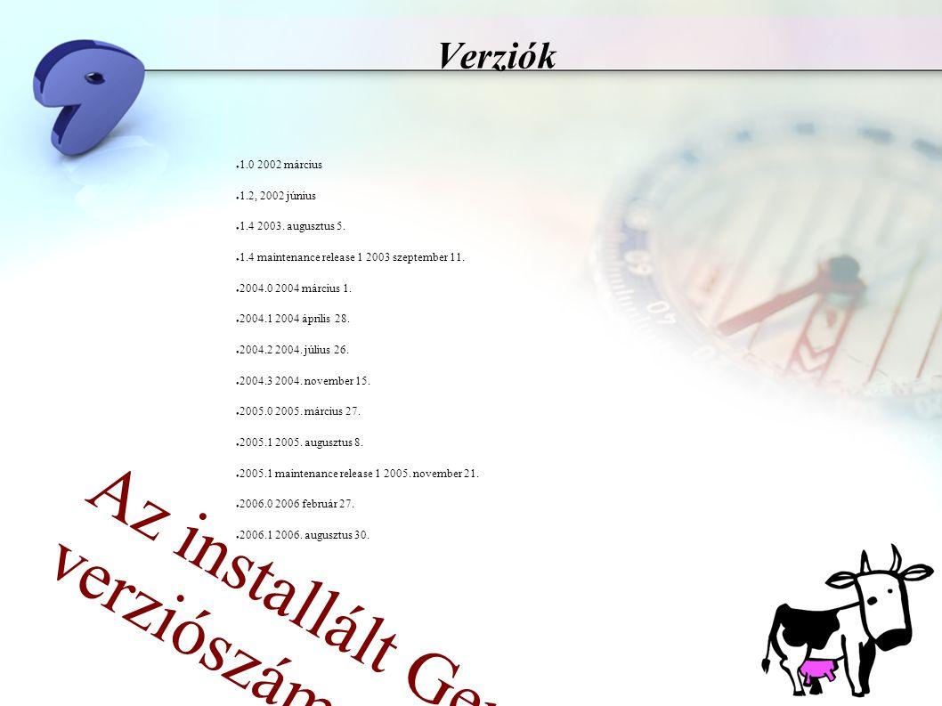 Verziók ● 1.0 2002 március ● 1.2, 2002 június ● 1.4 2003. augusztus 5. ● 1.4 maintenance release 1 2003 szeptember 11. ● 2004.0 2004 március 1. ● 2004