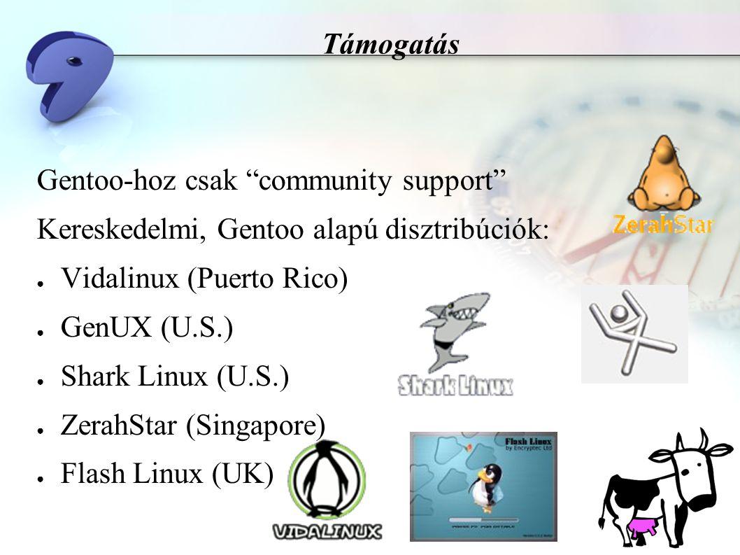 Támogatás Gentoo-hoz csak community support Kereskedelmi, Gentoo alapú disztribúciók: ● Vidalinux (Puerto Rico) ● GenUX (U.S.) ● Shark Linux (U.S.) ● ZerahStar (Singapore) ● Flash Linux (UK)
