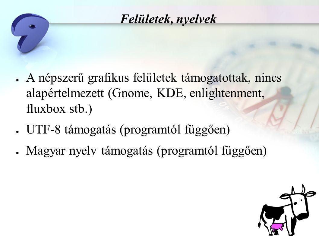 Felületek, nyelvek ● A népszerű grafikus felületek támogatottak, nincs alapértelmezett (Gnome, KDE, enlightenment, fluxbox stb.) ● UTF-8 támogatás (programtól függően) ● Magyar nyelv támogatás (programtól függően)