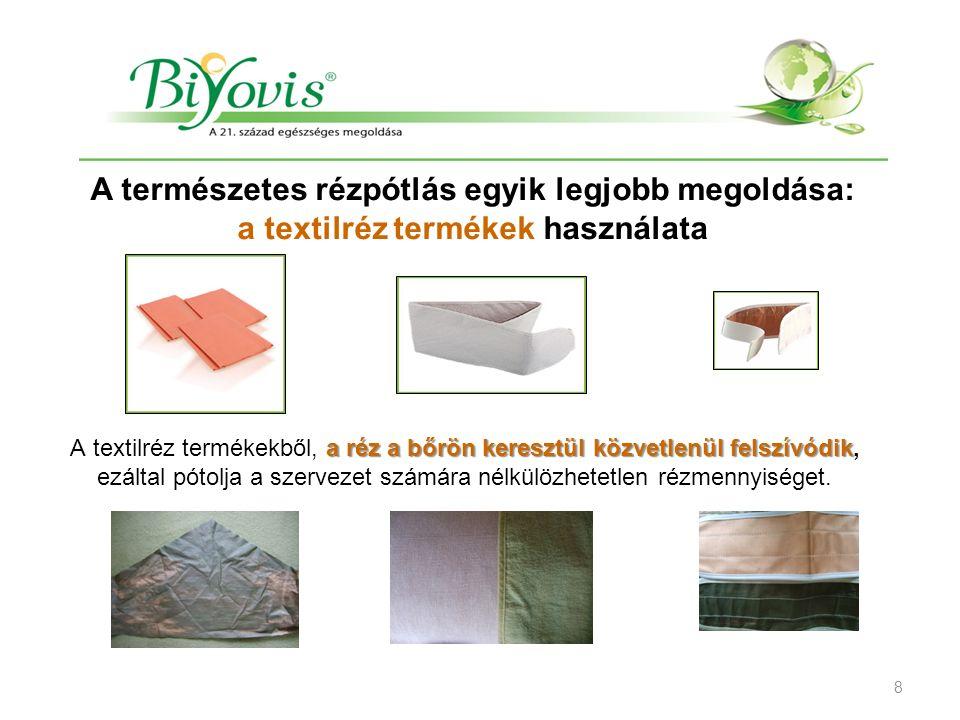TEXTILRÉZ TERMÉKEK A természetes rézpótlás egyik legjobb megoldása: a textilréz termékek használata a réz a bőrön keresztül közvetlenül felszívódik A textilréz termékekből, a réz a bőrön keresztül közvetlenül felszívódik, ezáltal pótolja a szervezet számára nélkülözhetetlen rézmennyiséget.