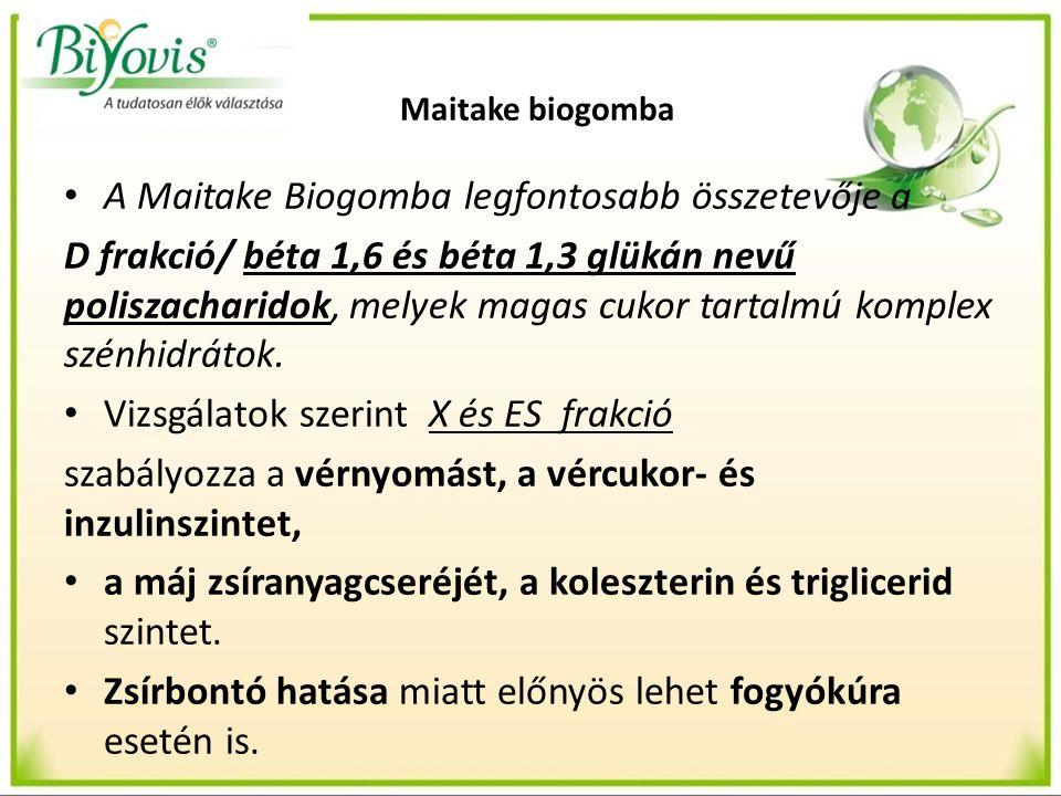 Maitake biogomba A Maitake Biogomba legfontosabb összetevője a D frakció/ béta 1,6 és béta 1,3 glükán nevű poliszacharidok, melyek magas cukor tartalm