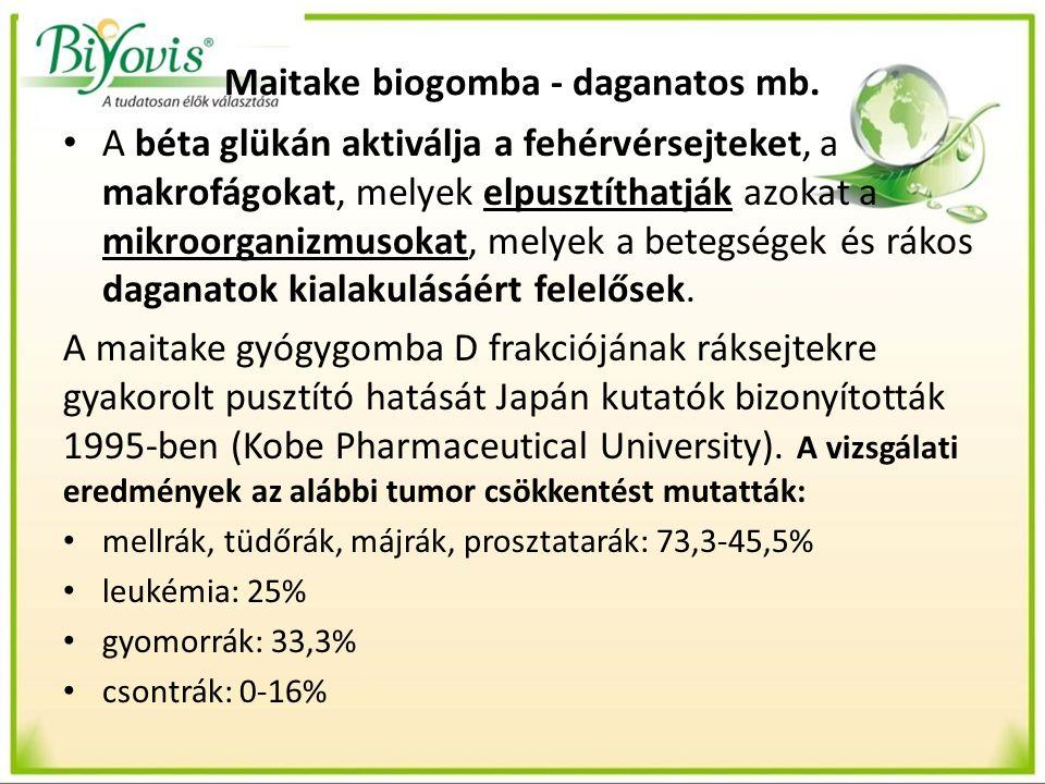 Maitake biogomba - daganatos mb. A béta glükán aktiválja a fehérvérsejteket, a makrofágokat, melyek elpusztíthatják azokat a mikroorganizmusokat, mely