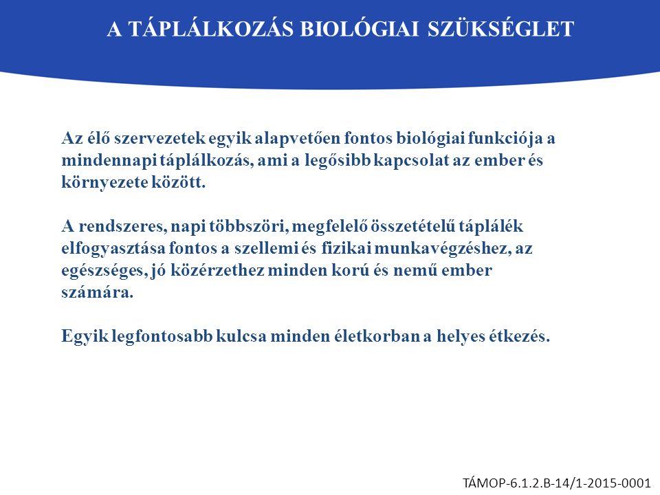 A TÁPLÁLKOZÁS BIOLÓGIAI SZÜKSÉGLET TÁMOP-6.1.2.B-14/1-2015-0001 Az élő szervezetek egyik alapvetően fontos biológiai funkciója a mindennapi táplálkozá