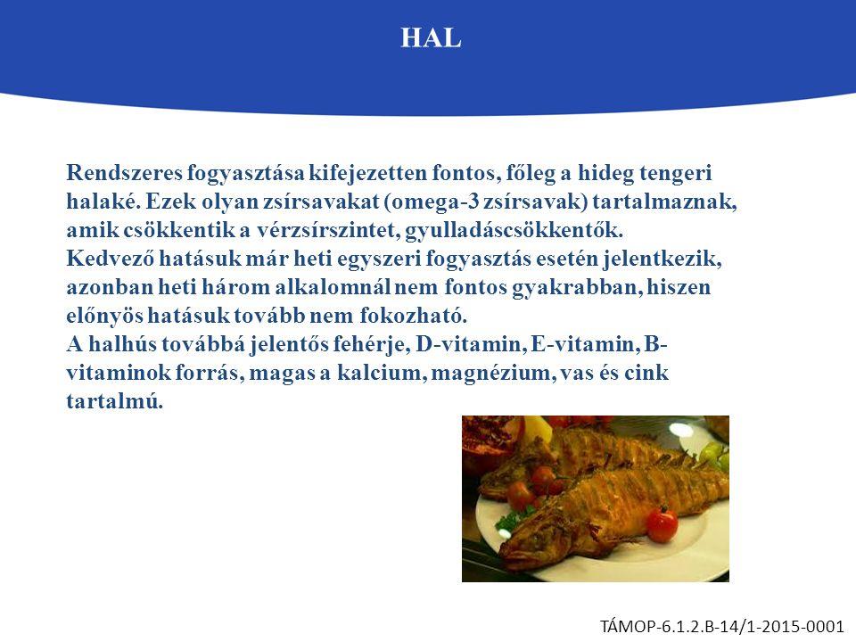 HAL TÁMOP-6.1.2.B-14/1-2015-0001 Rendszeres fogyasztása kifejezetten fontos, főleg a hideg tengeri halaké. Ezek olyan zsírsavakat (omega-3 zsírsavak)