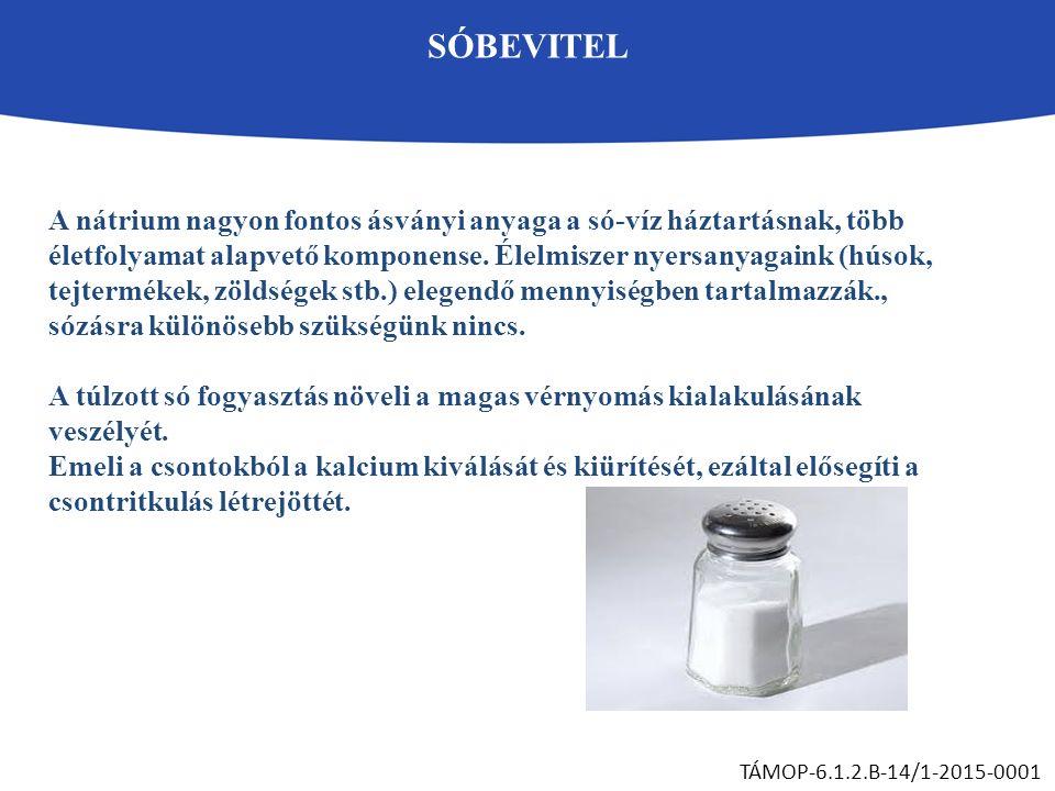 SÓBEVITEL TÁMOP-6.1.2.B-14/1-2015-0001 A nátrium nagyon fontos ásványi anyaga a só-víz háztartásnak, több életfolyamat alapvető komponense. Élelmiszer