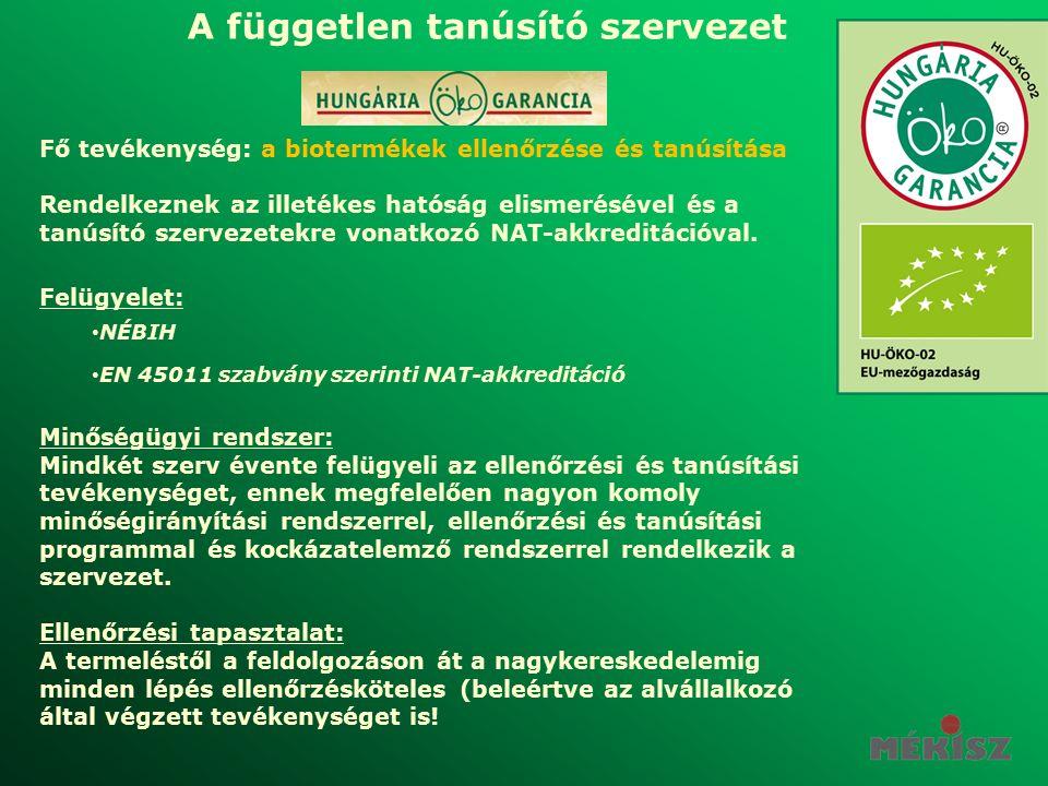 Fő tevékenység: a biotermékek ellenőrzése és tanúsítása Rendelkeznek az illetékes hatóság elismerésével és a tanúsító szervezetekre vonatkozó NAT-akkreditációval.