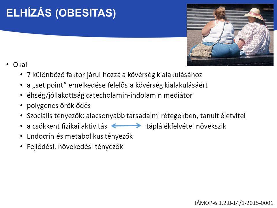 """ELHÍZÁS (OBESITAS) Okai 7 különböző faktor járul hozzá a kövérség kialakulásához a """"set point emelkedése felelős a kövérség kialakulásáért éhség/jóllakottság catecholamin-indolamin mediátor polygenes öröklődés Szociális tényezők: alacsonyabb társadalmi rétegekben, tanult életvitel a csökkent fizikai aktivitás táplálékfelvétel növekszik Endocrin és metabolikus tényezők Fejlődési, növekedési tényezők TÁMOP-6.1.2.B-14/1-2015-0001"""