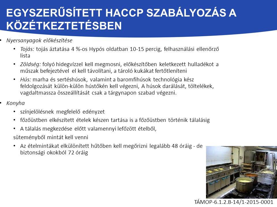 EGYSZERŰSÍTETT HACCP SZABÁLYOZÁS A KÖZÉTKEZTETÉSBEN Nyersanyagok előkészítése Tojás: tojás áztatása 4 %-os Hypós oldatban 10-15 percig, felhasználási ellenőrző lista Zöldség: folyó hidegvízzel kell megmosni, előkészítőben keletkezett hulladékot a műszak befejeztével el kell távolítani, a tároló kukákat fertőtleníteni Hús: marha és sertéshúsok, valamint a baromfihúsok technológia kész feldolgozását külön-külön hústőkén kell végezni, A húsok darálását, töltelékek, vagdaltmassza összeállítását csak a tárgynapon szabad végezni.