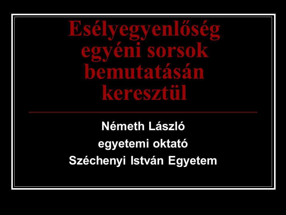 Esélyegyenlőség egyéni sorsok bemutatásán keresztül Németh László egyetemi oktató Széchenyi István Egyetem