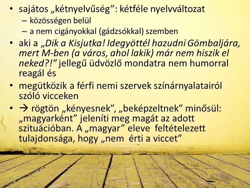 """sajátos """"kétnyelvűség : kétféle nyelvváltozat – közösségen belül – a nem cigányokkal (gádzsókkal) szemben aki a """"Dik a Kisjutka."""