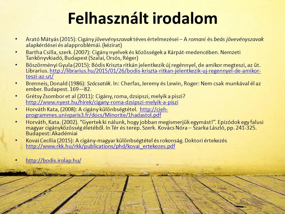 Felhasznált irodalom Arató Mátyás (2015): Cigány jövevényszavak téves értelmezései – A romani és beás jövevényszavak alapkérdései és alapproblémái.