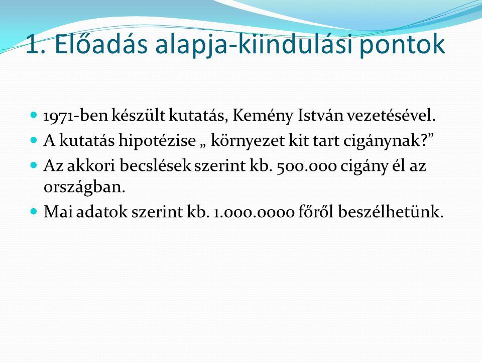1. Előadás alapja-kiindulási pontok 1971-ben készült kutatás, Kemény István vezetésével.