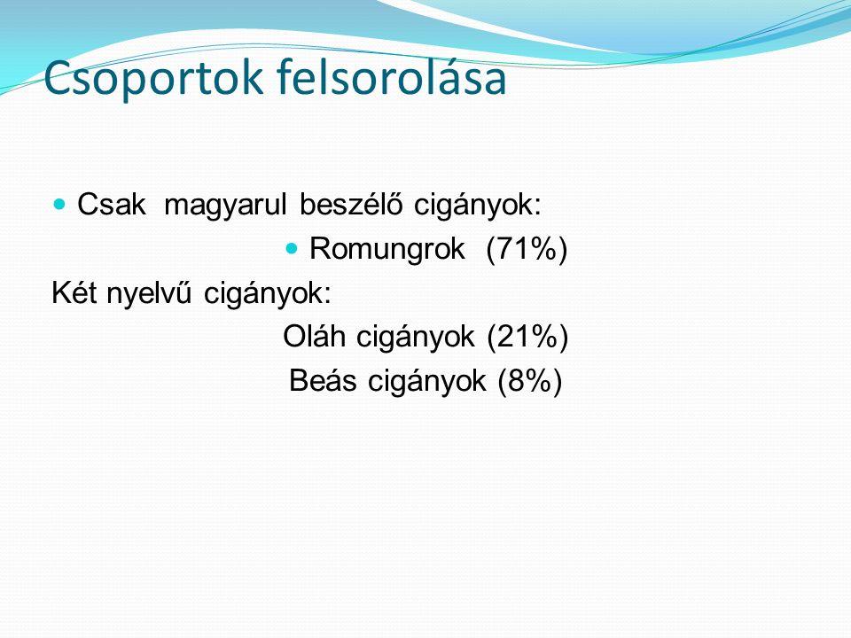 Csoportok felsorolása Csak magyarul beszélő cigányok: Romungrok (71%) Két nyelvű cigányok: Oláh cigányok (21%) Beás cigányok (8%)