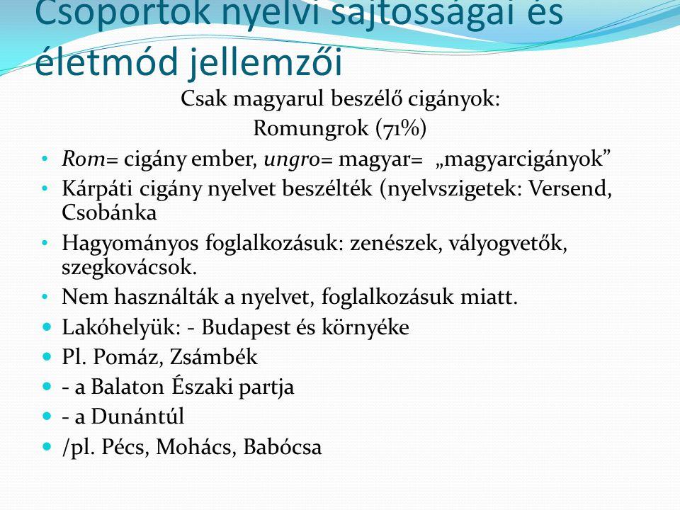 """Csoportok nyelvi sajtosságai és életmód jellemzői Csak magyarul beszélő cigányok: Romungrok (71%) Rom= cigány ember, ungro= magyar= """"magyarcigányok Kárpáti cigány nyelvet beszélték (nyelvszigetek: Versend, Csobánka Hagyományos foglalkozásuk: zenészek, vályogvetők, szegkovácsok."""