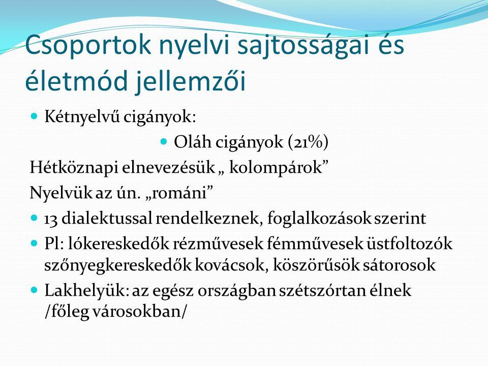 """Csoportok nyelvi sajtosságai és életmód jellemzői Kétnyelvű cigányok: Oláh cigányok (21%) Hétköznapi elnevezésük """" kolompárok Nyelvük az ún."""
