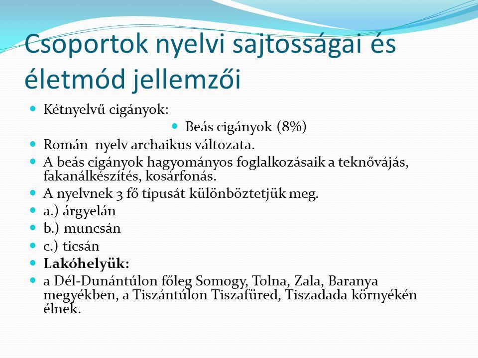 Csoportok nyelvi sajtosságai és életmód jellemzői Kétnyelvű cigányok: Beás cigányok (8%) Román nyelv archaikus változata.