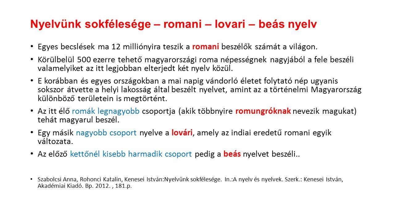 Egyes becslések ma 12 milliónyira teszik a romani beszélők számát a világon.