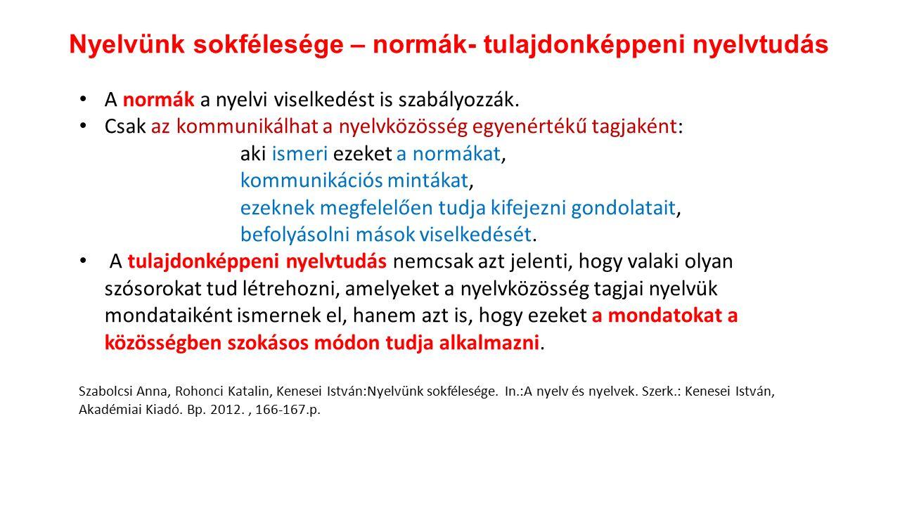 Nyelvünk sokfélesége – normák- tulajdonképpeni nyelvtudás A normák a nyelvi viselkedést is szabályozzák.