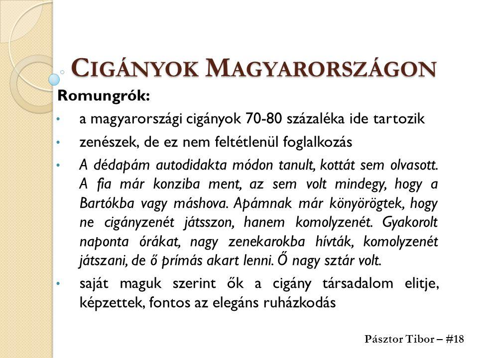 C IGÁNYOK M AGYARORSZÁGON Romungrók: a magyarországi cigányok 70-80 százaléka ide tartozik zenészek, de ez nem feltétlenül foglalkozás A dédapám autodidakta módon tanult, kottát sem olvasott.