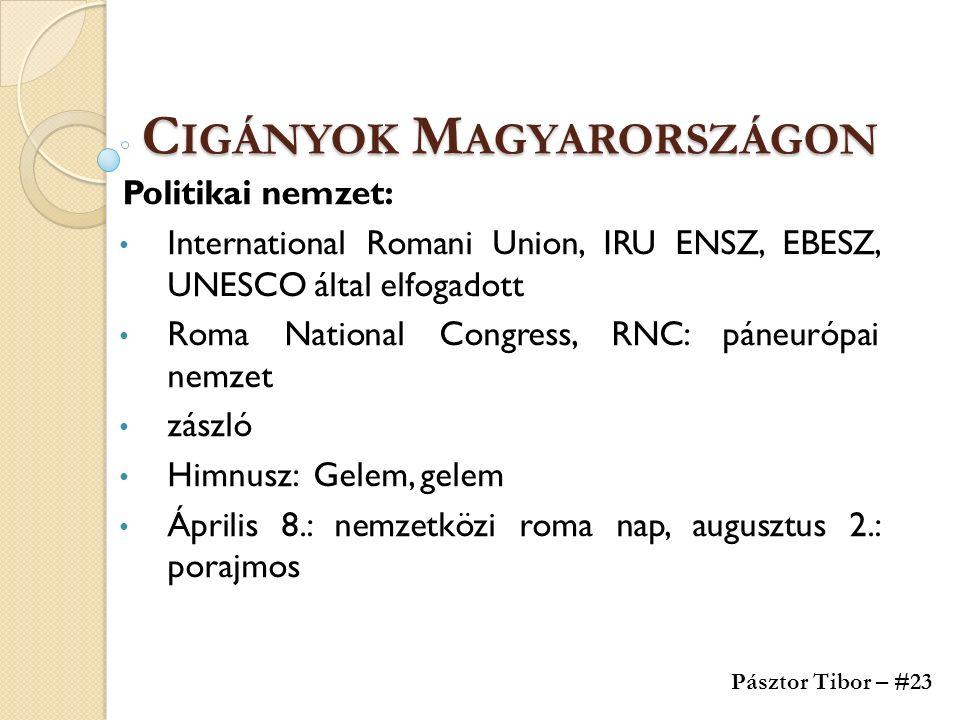 C IGÁNYOK M AGYARORSZÁGON Politikai nemzet: International Romani Union, IRU ENSZ, EBESZ, UNESCO által elfogadott Roma National Congress, RNC: páneurópai nemzet zászló Himnusz: Gelem, gelem Április 8.: nemzetközi roma nap, augusztus 2.: porajmos Pásztor Tibor – #23