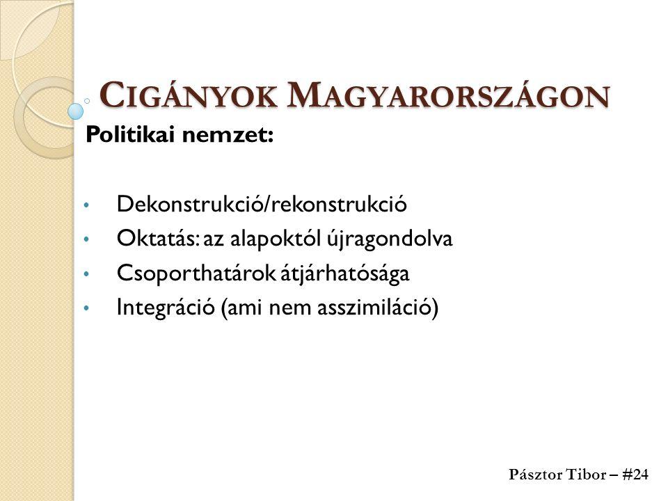 C IGÁNYOK M AGYARORSZÁGON Politikai nemzet: Dekonstrukció/rekonstrukció Oktatás: az alapoktól újragondolva Csoporthatárok átjárhatósága Integráció (ami nem asszimiláció) Pásztor Tibor – #24