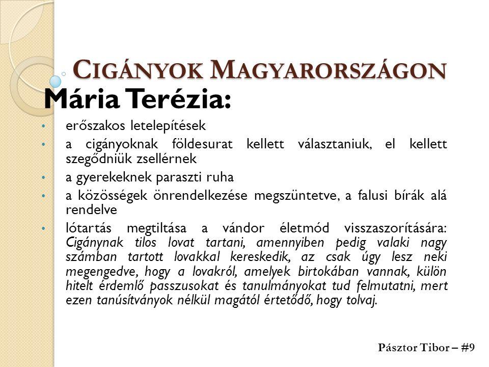 C IGÁNYOK M AGYARORSZÁGON Mária Terézia: erőszakos letelepítések a cigányoknak földesurat kellett választaniuk, el kellett szegődniük zsellérnek a gye