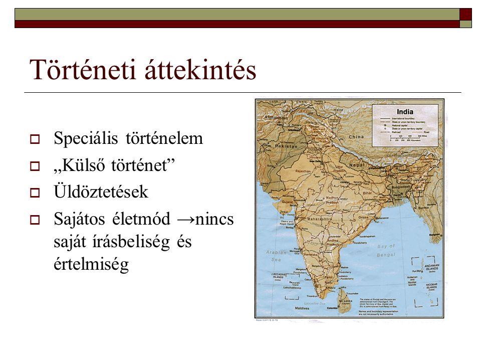 """Történeti áttekintés  Speciális történelem  """"Külső történet""""  Üldöztetések  Sajátos életmód →nincs saját írásbeliség és értelmiség"""