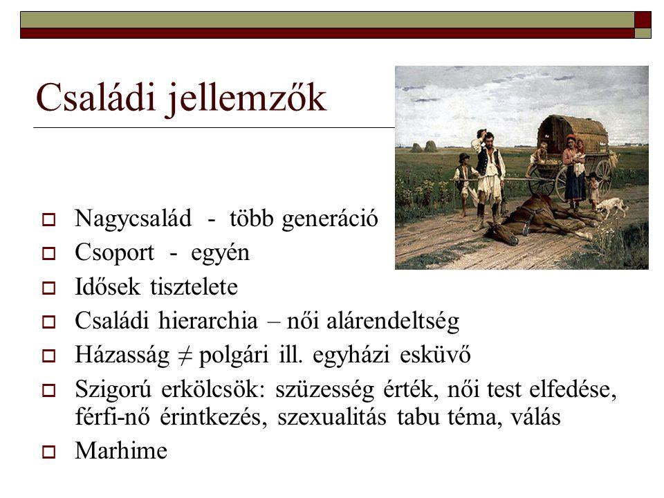 Családi jellemzők  Nagycsalád - több generáció  Csoport - egyén  Idősek tisztelete  Családi hierarchia – női alárendeltség  Házasság ≠ polgári il
