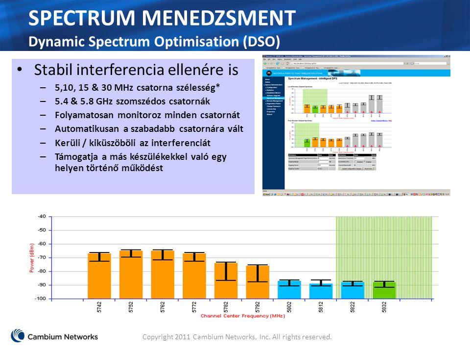 SPECTRUM MENEDZSMENT Dynamic Spectrum Optimisation (DSO) Stabil interferencia ellenére is – 5,10, 15 & 30 MHz csatorna szélesség* – 5.4 & 5.8 GHz szomszédos csatornák – Folyamatosan monitoroz minden csatornát – Automatikusan a szabadabb csatornára vált – Kerüli / kiküszöböli az interferenciát – Támogatja a más készülékekkel való egy helyen történő működést Copyright 2011 Cambium Networks, Inc.