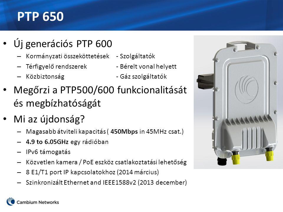 PTP 650 Új generációs PTP 600 – Kormányzati összeköttetések- Szolgáltatók – Térfigyelő rendszerek- Bérelt vonal helyett – Közbiztonság- Gáz szolgáltatók Megőrzi a PTP500/600 funkcionalitását és megbízhatóságát Mi az újdonság.