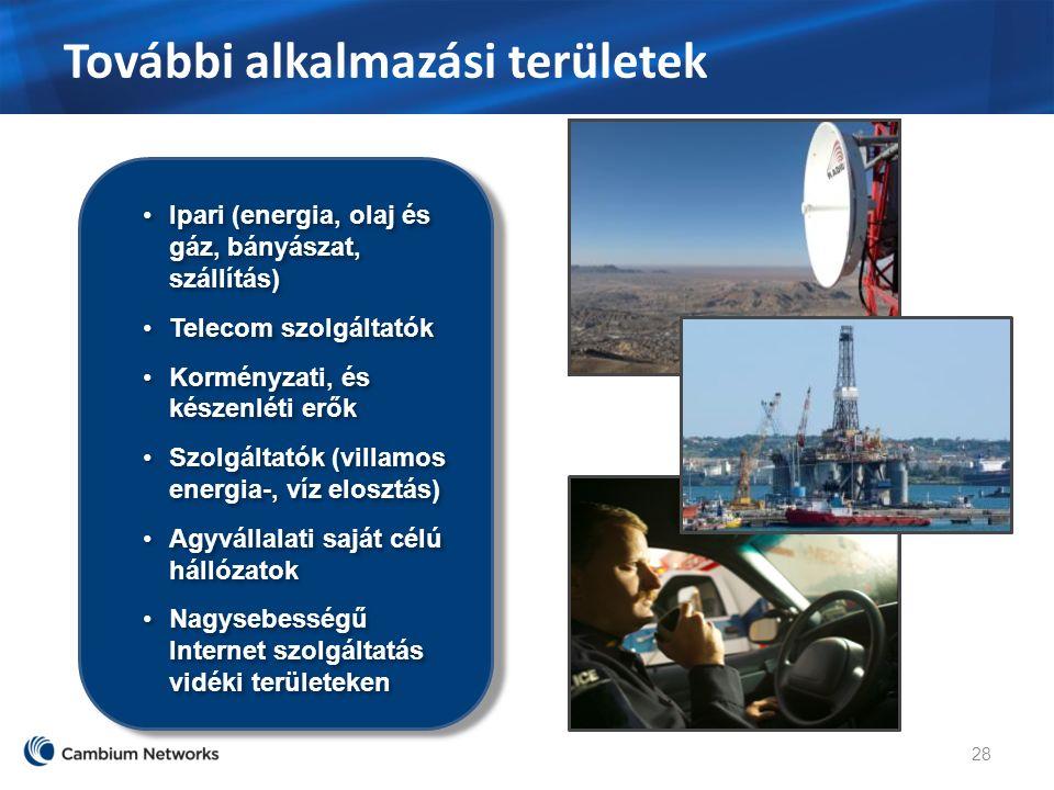 További alkalmazási területek 28 Ipari (energia, olaj és gáz, bányászat, szállítás) Telecom szolgáltatók Korményzati, és készenléti erők Szolgáltatók (villamos energia-, víz elosztás) Agyvállalati saját célú hállózatok Nagysebességű Internet szolgáltatás vidéki területeken Ipari (energia, olaj és gáz, bányászat, szállítás) Telecom szolgáltatók Korményzati, és készenléti erők Szolgáltatók (villamos energia-, víz elosztás) Agyvállalati saját célú hállózatok Nagysebességű Internet szolgáltatás vidéki területeken