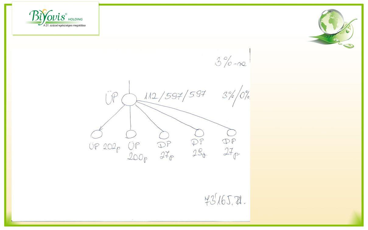 Havi zárás kiszámolása 0 % ról 3 % ra Gyöngybónusz: 485 x 180 x 10%= 8730.-Ft Regisztrációs bónusz Diszkont vásárló után: 3 x 2000 Ft = 6000.-Ft Üzleti partnerek után 2 x 9000 Ft = 18000.-Ft Szponzorálási bónusz Mo x 2% / xxx = 35000.-Ft Differenciál bónusz1 0 tól 500 pontig nem jár 0.-Ft 97 pont x180 x 3% = 1746.- Ft Differenciál bónusz 2 = 2010+1680= 3690.-Ft Összesen: 62824.-Ft