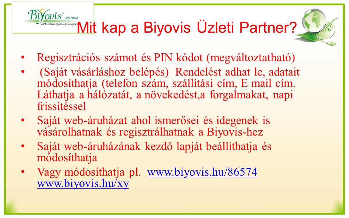 Mit kap a Biyovis Üzleti Partner? Regisztrációs számot és PIN kódot (megváltoztatható) (Saját vásárláshoz belépés) Rendelést adhat le, adatait módosít