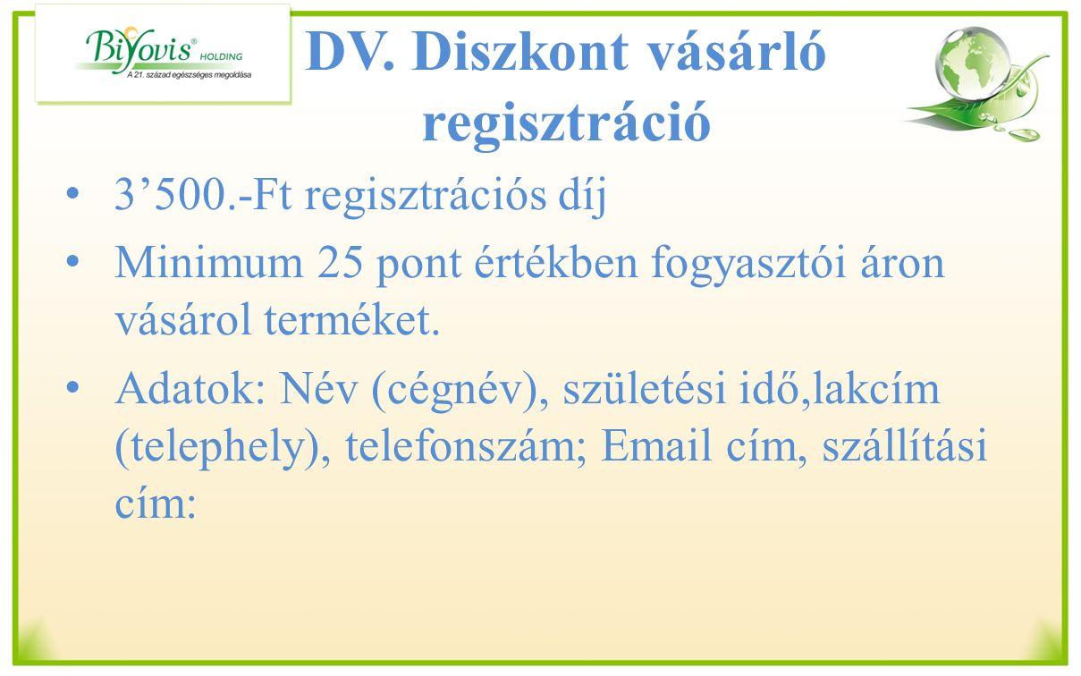 DV. Diszkont vásárló regisztráció 3'500.-Ft regisztrációs díj Minimum 25 pont értékben fogyasztói áron vásárol terméket. Adatok: Név (cégnév), születé