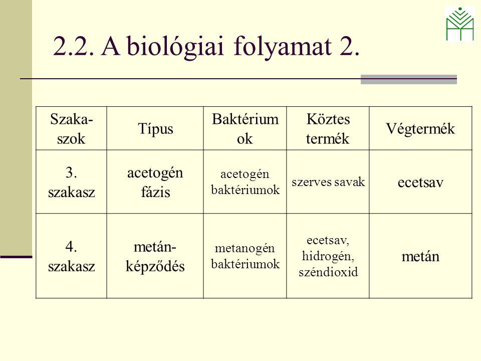 Szaka- szok Típus Baktérium ok Köztes termék Végtermék 3.