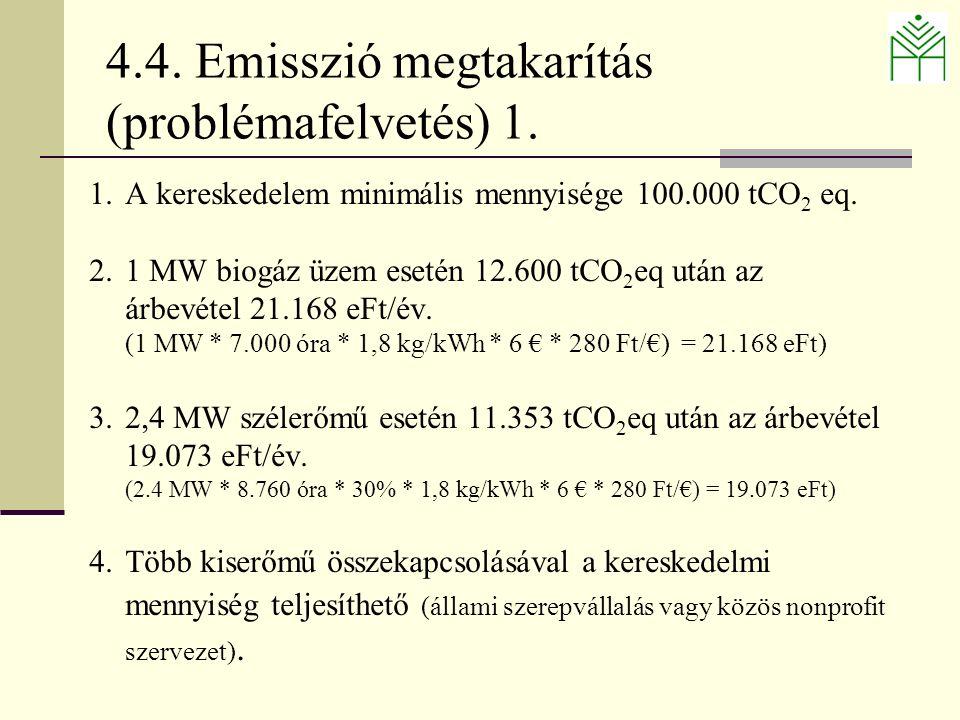 4.4. Emisszió megtakarítás (problémafelvetés) 1.