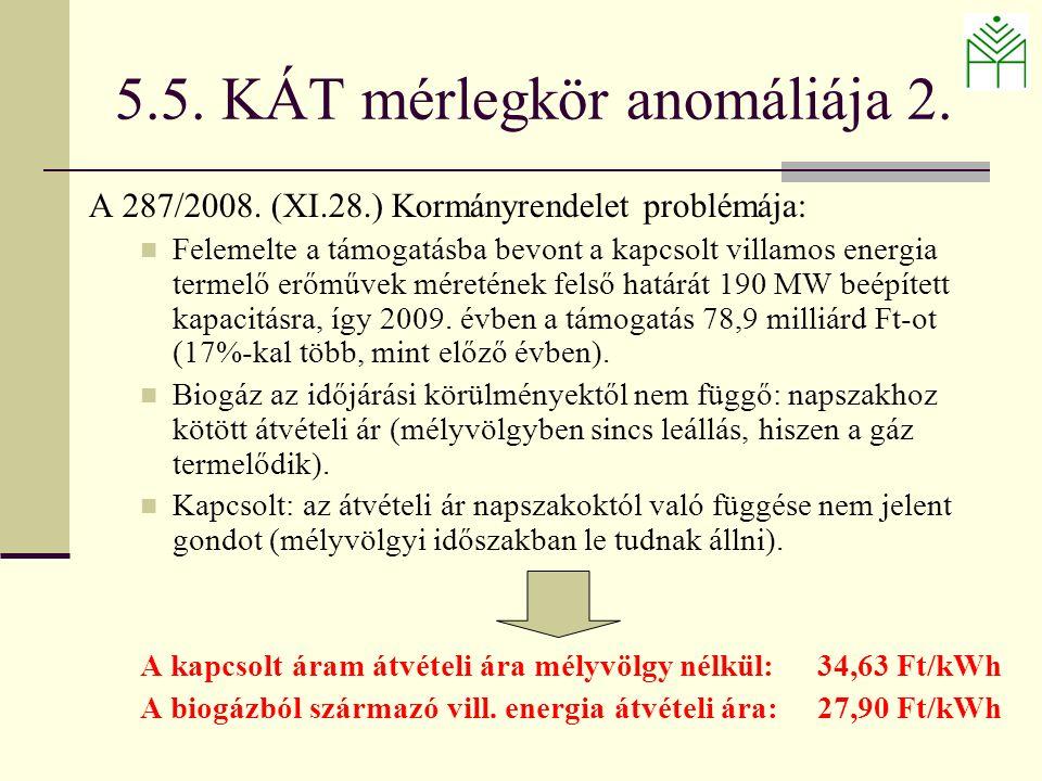 5.5. KÁT mérlegkör anomáliája 2. A 287/2008.