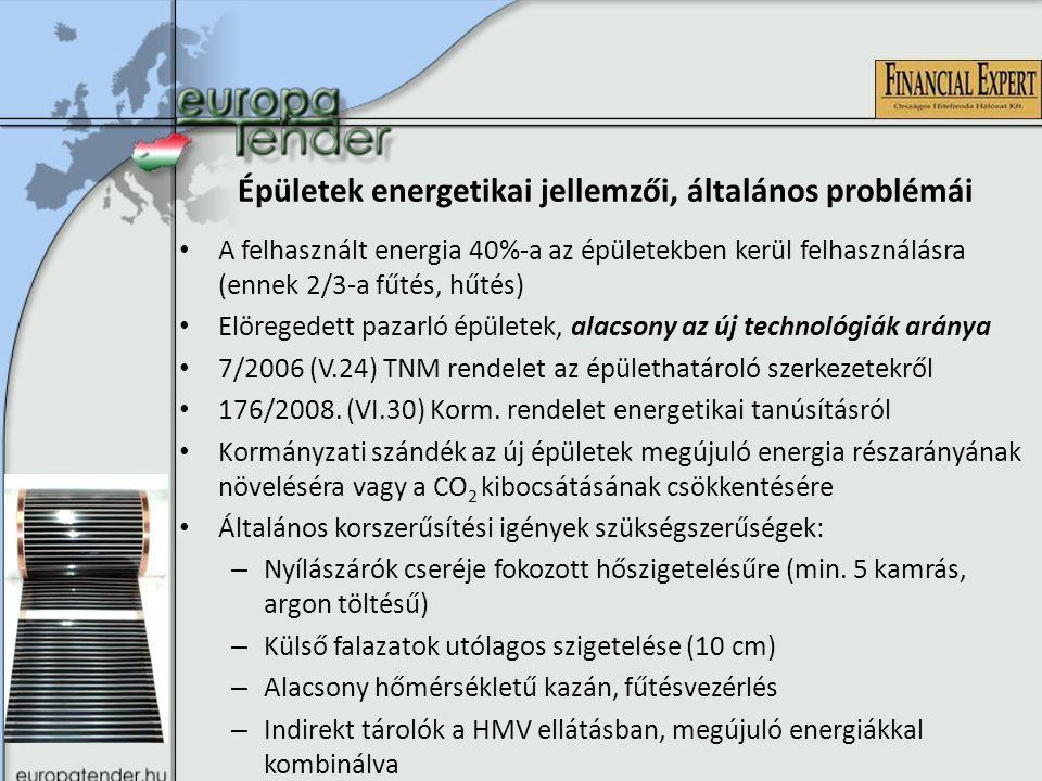 Épületek energetikai jellemzői, általános problémái A felhasznált energia 40%-a az épületekben kerül felhasználásra (ennek 2/3-a fűtés, hűtés) Elöregedett pazarló épületek, alacsony az új technológiák aránya 7/2006 (V.24) TNM rendelet az épülethatároló szerkezetekről 176/2008.