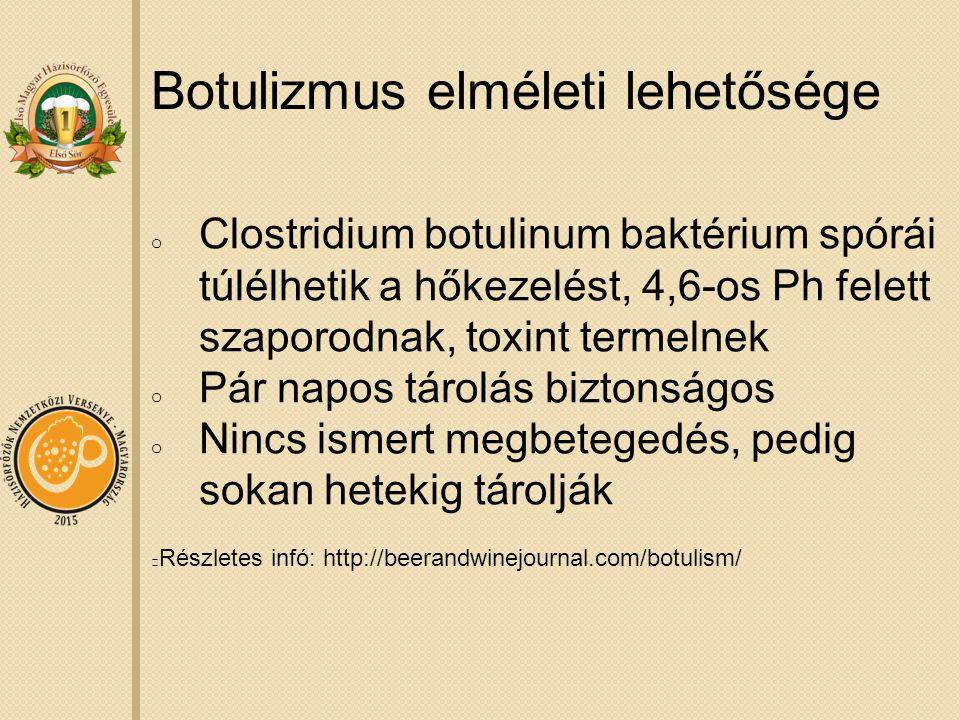Botulizmus elméleti lehetősége o Clostridium botulinum baktérium spórái túlélhetik a hőkezelést, 4,6-os Ph felett szaporodnak, toxint termelnek o Pár napos tárolás biztonságos o Nincs ismert megbetegedés, pedig sokan hetekig tárolják Részletes infó: http://beerandwinejournal.com/botulism/